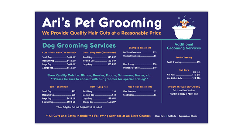 Ari's Pet Grooming | Services Sign