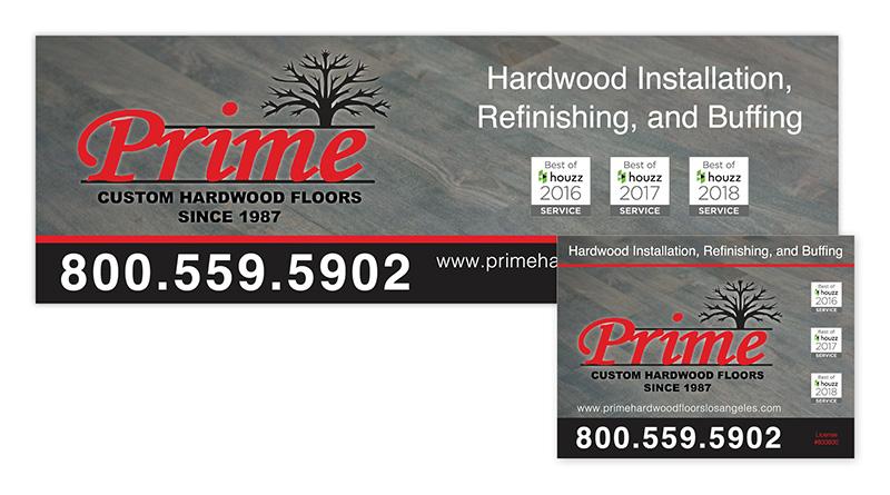 Prime Hardwood | Banner & Yard Sign